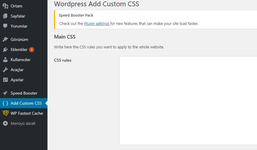 WP Plugin Aracılığıyla Tüm Sitenize Özel CSS Ekleyin