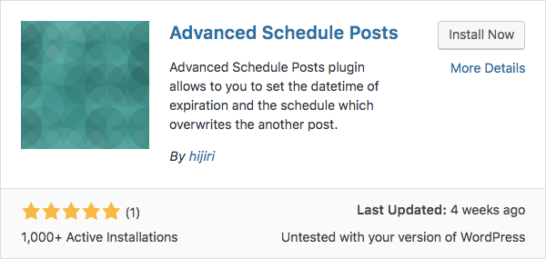 WOrdPress Advanced Scheduled Posts Eklentisi