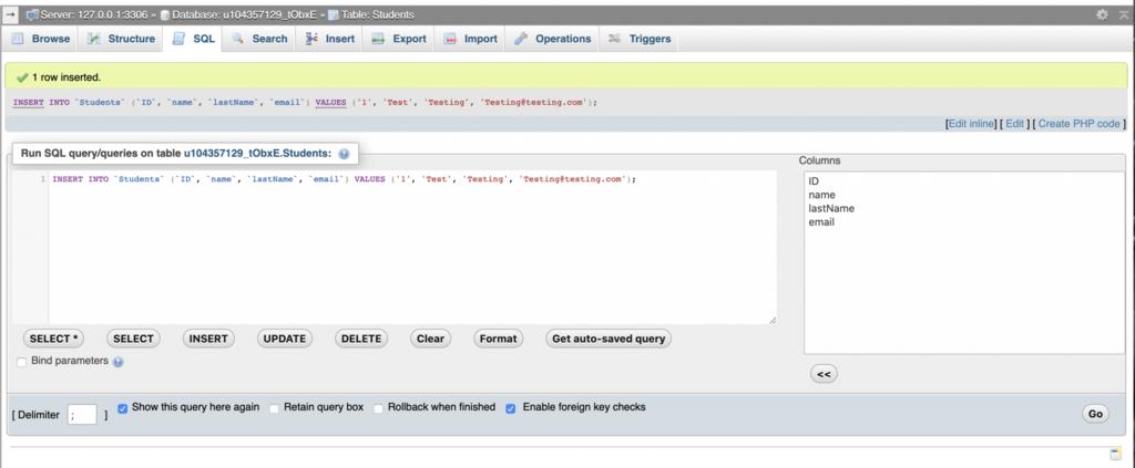 phpMyAdmin verisi PHP aracılığıyla MySQL'e eklendi