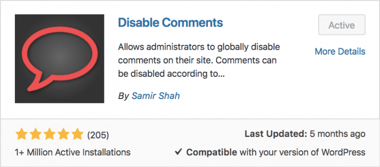 WordPress Disable Comments Eklentisi