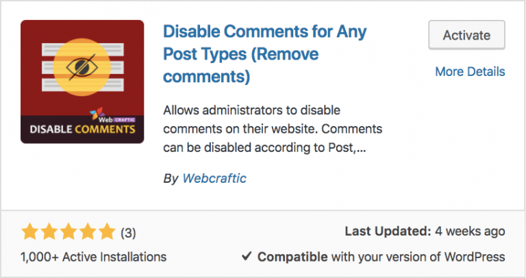 WordPress Disable Comments for Any Post Types Eklentisi