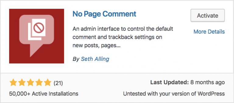 WordPress No Page Comment Eklentisi
