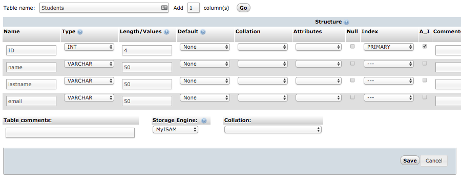 phpmyadmin veritabanı kurulumu
