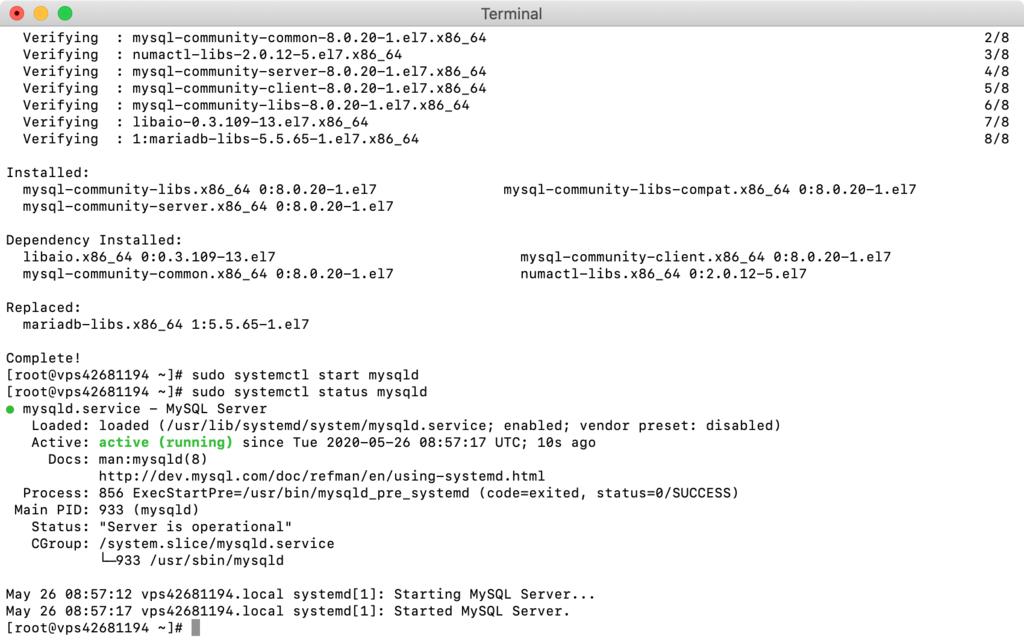 Linux CentOS'da MySQL kurulumundan sonra durumunu kontrol etme