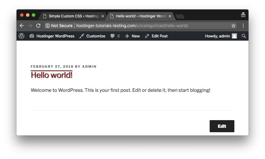 WordPress Özel CSS başarılı bir şekilde eklendi
