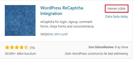 WordPress recaptcha eklentisi kurulumu
