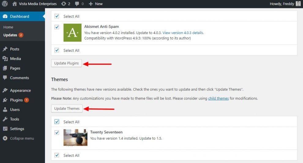 WordPress Güncelleme Ekranı