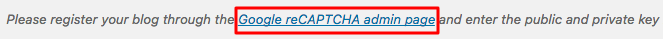WordPress recaptcha API anahtarı