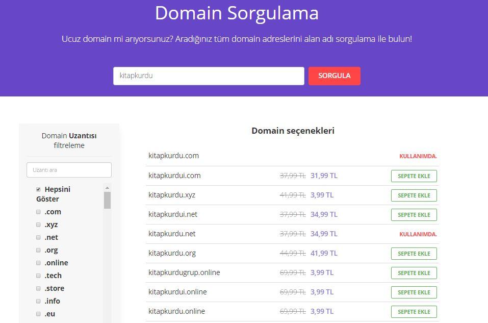 Domain sorgulama aracı kullanarak yeni domain adı arama