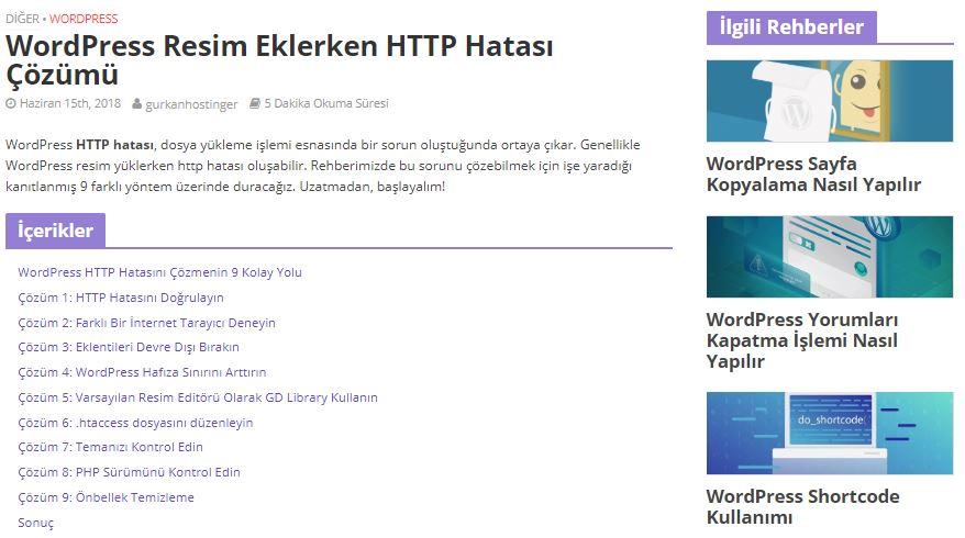 WordPress kenar çubuğu örneği