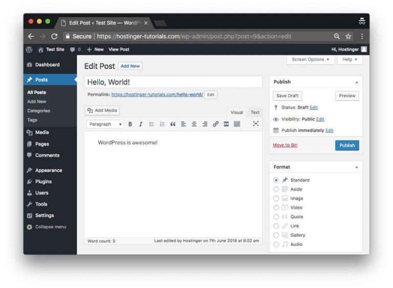 WordPress içerik yönetim sistemini kullanarak yeni bir yazı ekleme
