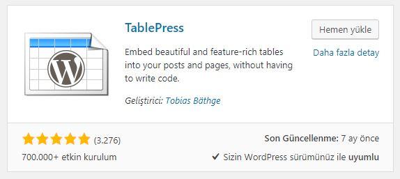 TablePress ile wordpress tablo oluşturma