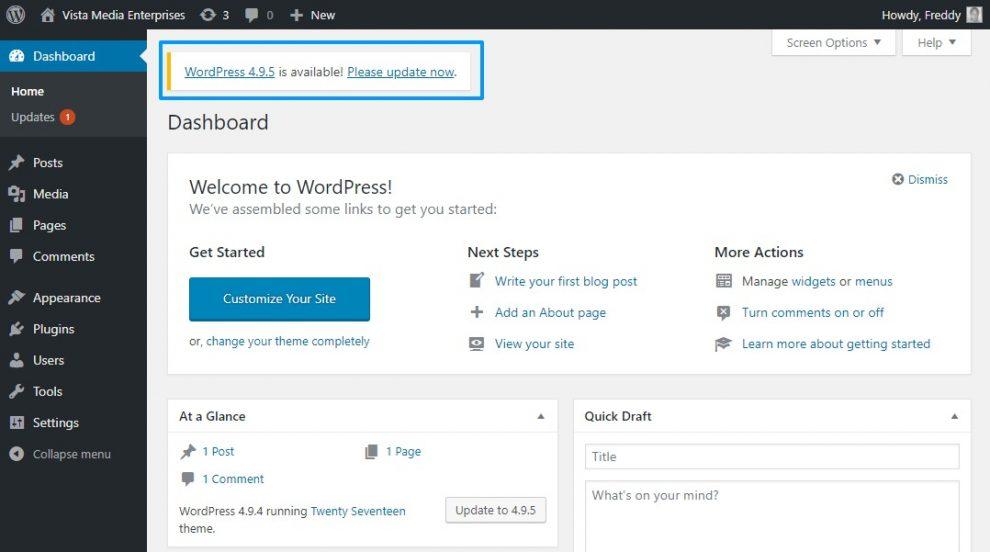 WordPress admin panelinde güncelleme bildirimi görünümü