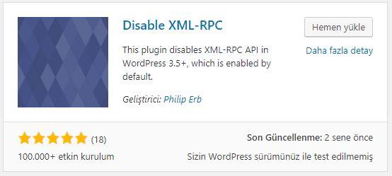 Disable xmlrpc eklentisini yükleyin