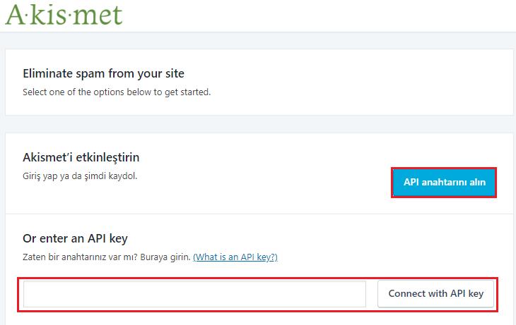 WordPress Akismet API Anahtarı Edinme