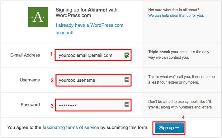 WordPress Akismet Kayıt Formu