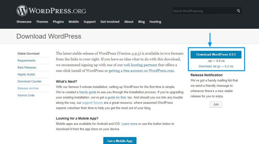 WordPress Son Sürüm İndirme
