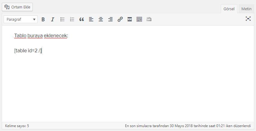 WordPress yazısına tablo kodu girişi