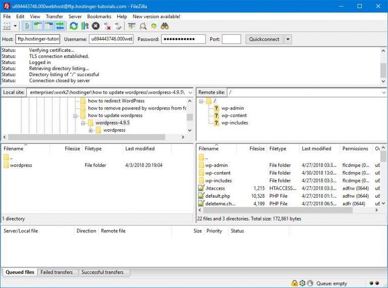 FTP aracılığıyla WordPress root dizinine erişim