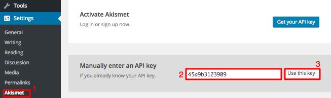 Akismet API anahtarı ayarları sayfası