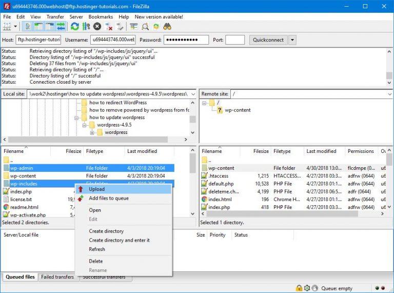 FTP Aracılığıyla WordPress Dosyalarını Yükleme