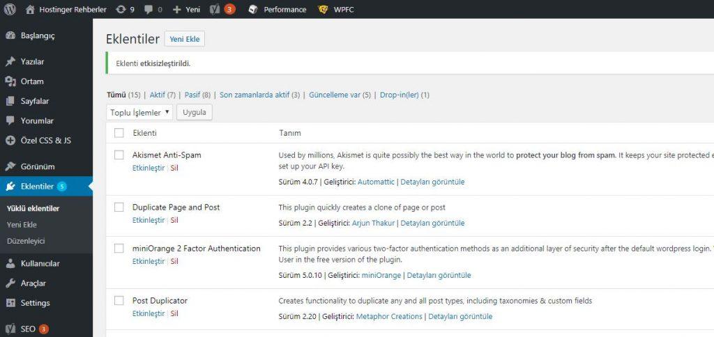 WordPress HTTP hatasının çözümü için eklentileri devre dışı bırakma