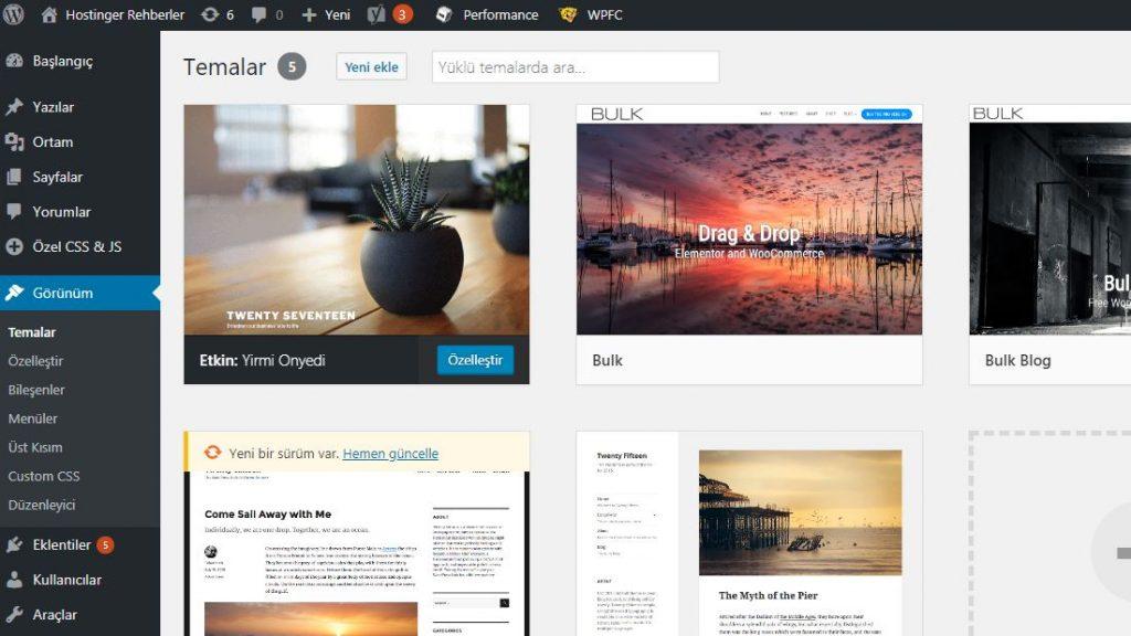 WordPress temalarının admin paneli görünümü