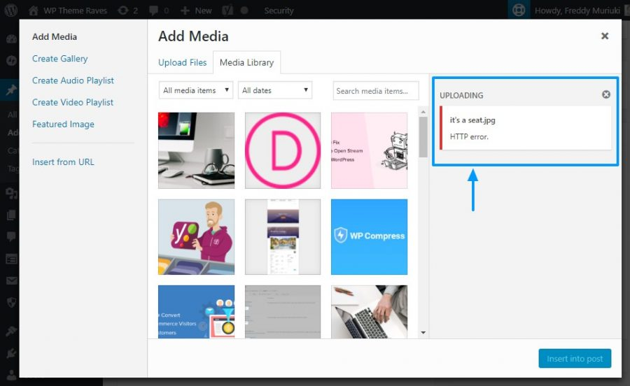 wordpress resim eklerken http hatası örneği