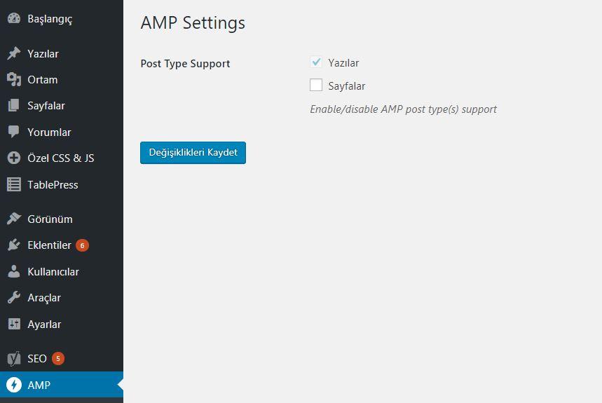 AMP for WordPress Eklentisi Genel Ayarlar Sayfası Görünümü