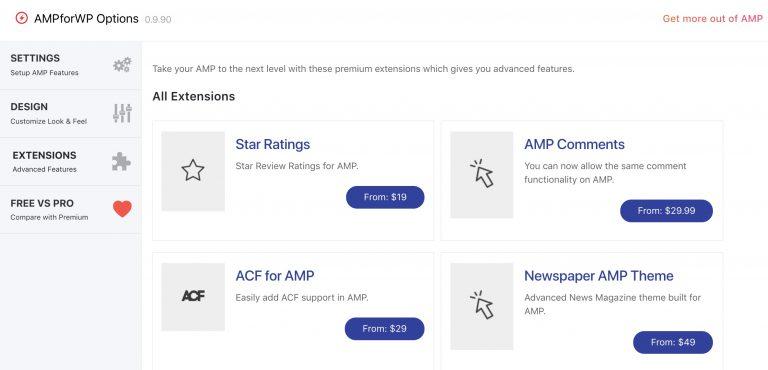 AMPforWP Extensions sayfası görünümü