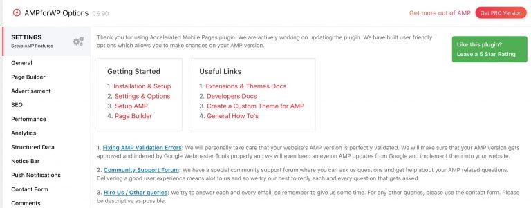 AMPforWP Plugin Settings sayfası görünümü