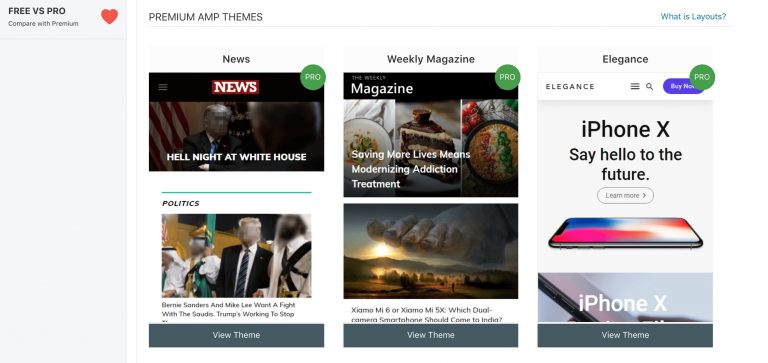 AMPforWP premium themes sayfası görünümü