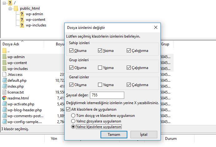 Filezilla Dosya İzinleri Penceresi Görünümü