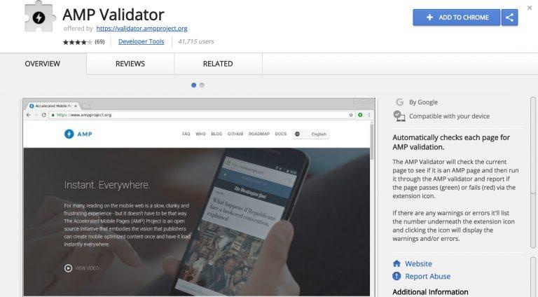 Google Chrome AMP Validator Uzantısı Görünümü