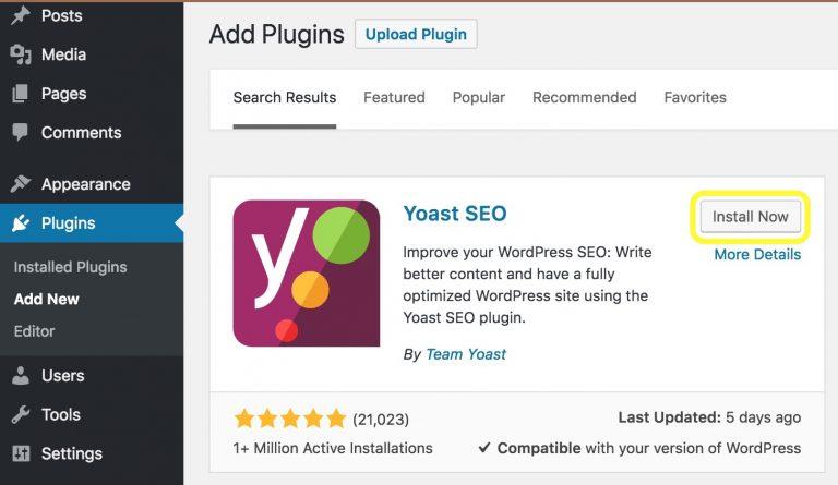 Yoast SEO Eklentisi WordPress Yükleme Ekranı Görünümü
