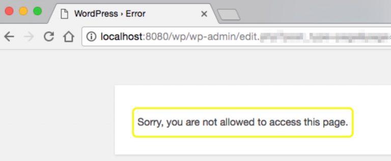 WordPress Üzgünüz, bu sayfaya erişmenize izin verilmiyor hatası