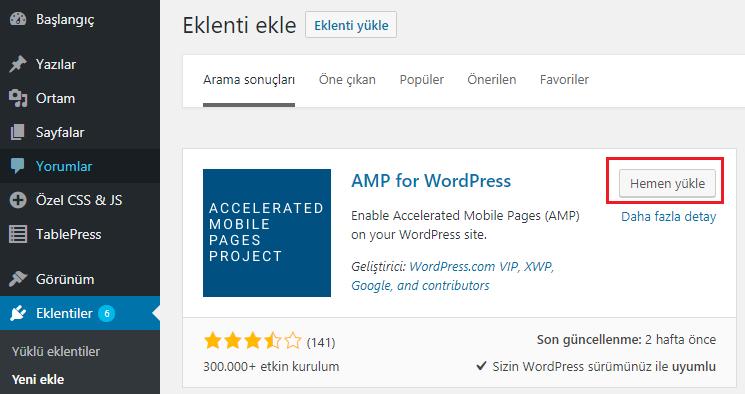 AMP for WordPress eklentisi görünümü