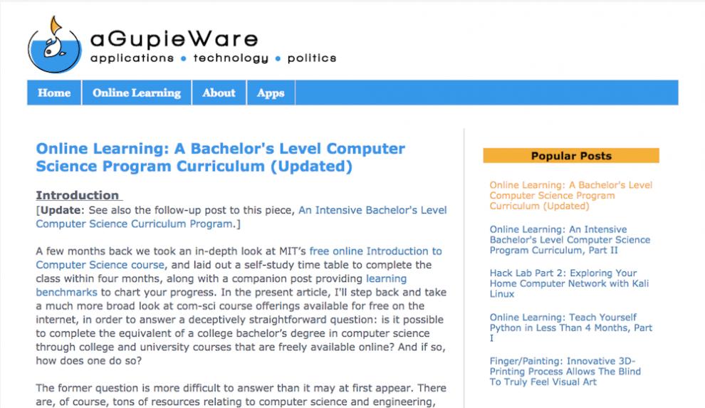 aGupieWare ile online ücretsiz yazılım öğrenmek