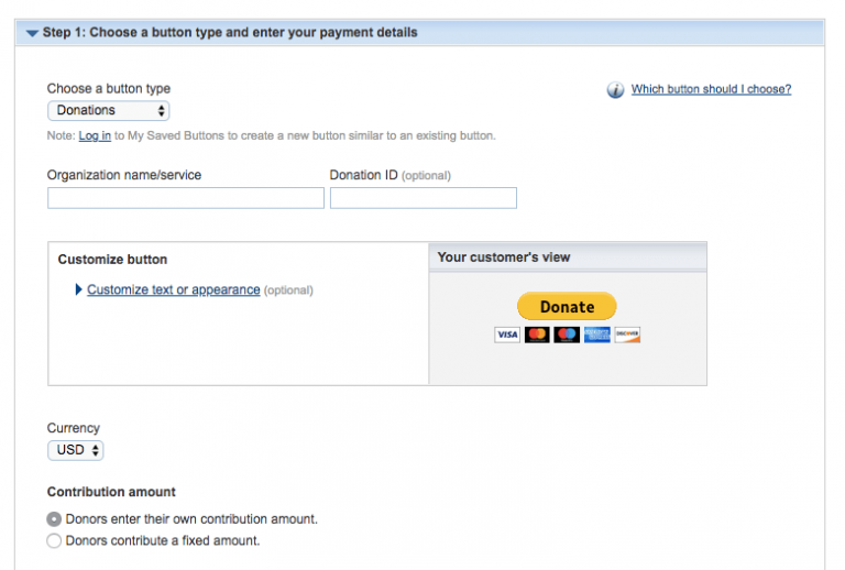 PayPal Donation Button Options
