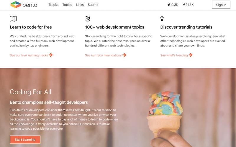 Bento.io kodlama öğrenme sitesi ana sayfası