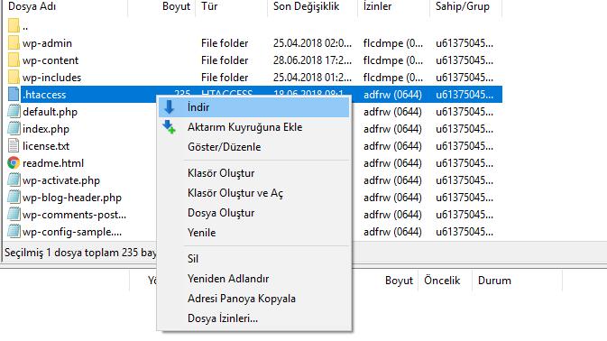 filezilla htaccess dosyası indirme