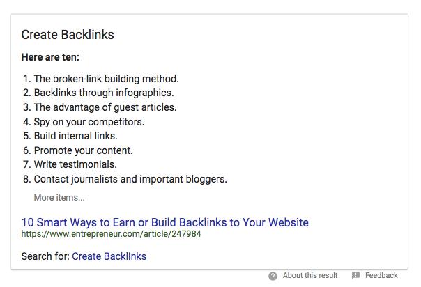 Google bilgi grafiği örneği