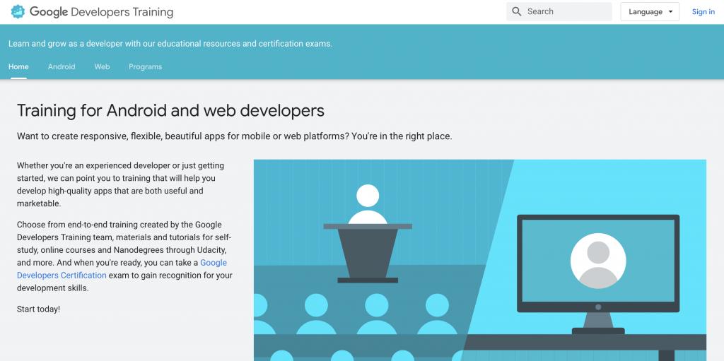 Google Developers Training ücretsiz online kodlama programları