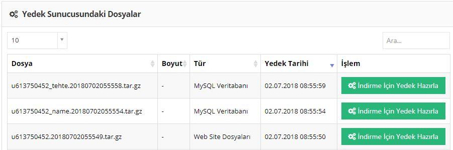 hostinger website dosya ve mysql yedekleri