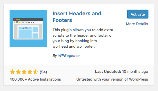 WordPress insert headers and footers eklentisi