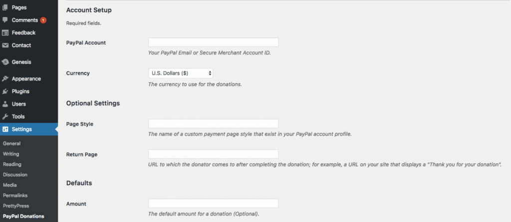 PayPal Donation Button Settings in WordPress Panel