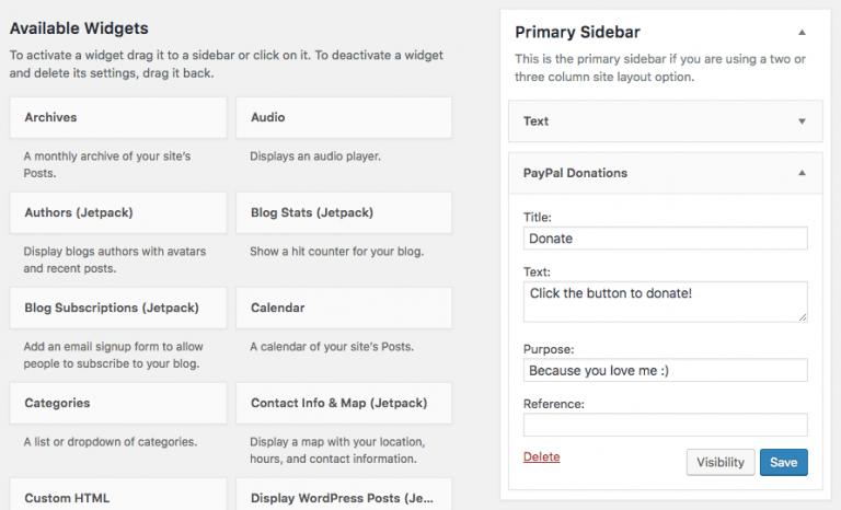 WordPress'de widget olarak PayPal bağış butonu ekleme