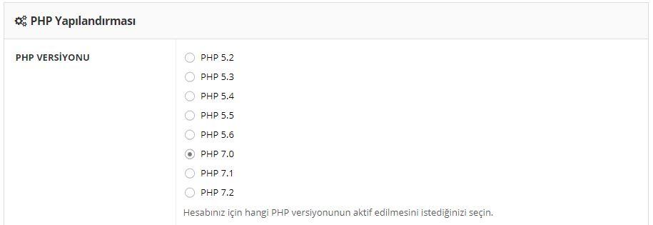 php sürümü güncelleme