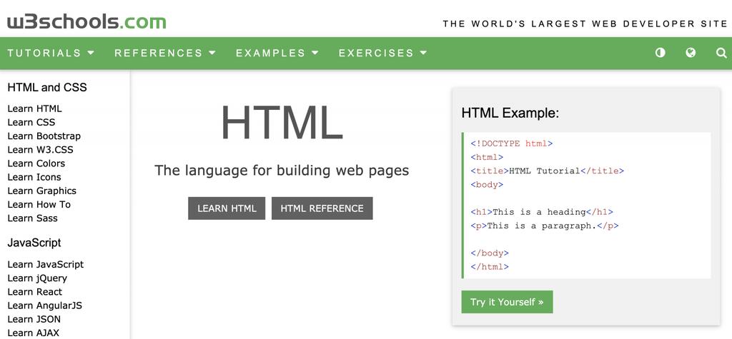 HTML ve CSS için W3Schools ana sayfası