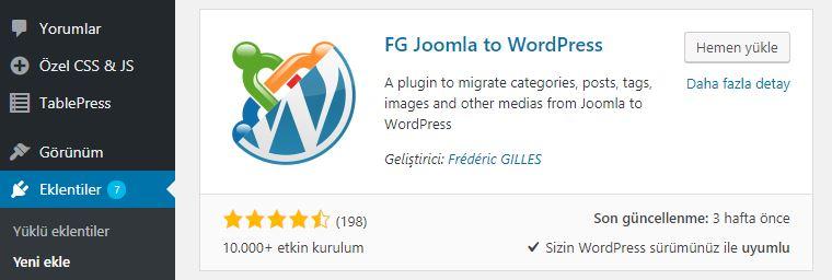 FG Joomla to WordPress eklentisi kurulumu